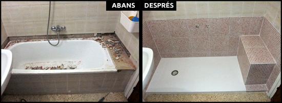 Canvi de banyera per col·locar plat de dutxa de resina