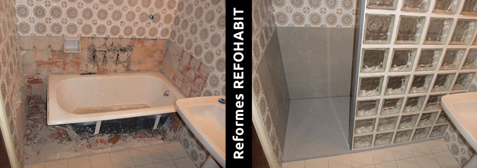 06 canviar banyera per plat de dutxa de resina amb mampara de paves