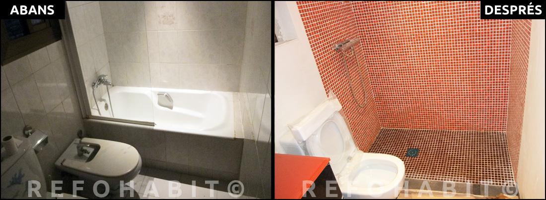 Reformes de cuines i banys > ABANS + DESPRÉS de reforma de bany integral a pis de Barcelona. Canvi de banyera per dutxa d'obra amb gresite, a nivell de pas.