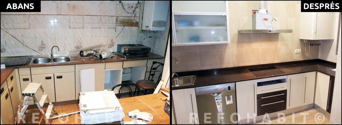 Reformes de cuines i banys > ABANS + DESPRÉS de reforma de cuina integral a pis de Barcelona.